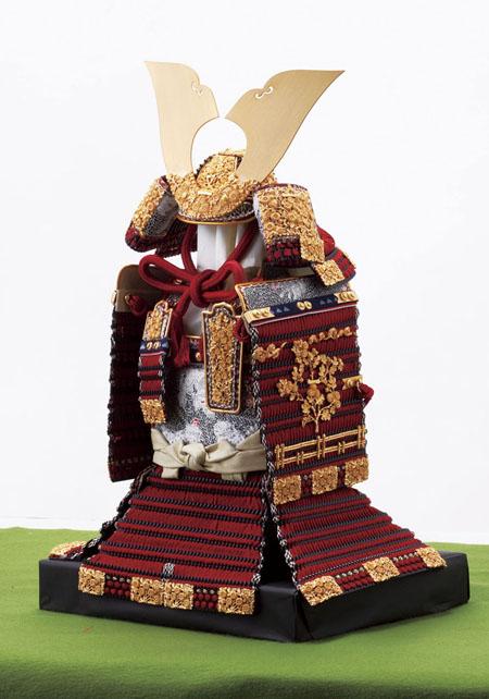 青森 櫛引八幡宮所蔵 (鎌倉時代後期)国宝模写 菊一文字金物赤糸縅大鎧 模写