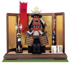 戦国武将・直江兼続公 愛染明王前立て 上杉神社蔵 浅葱縅二枚胴具足模写鎧飾り