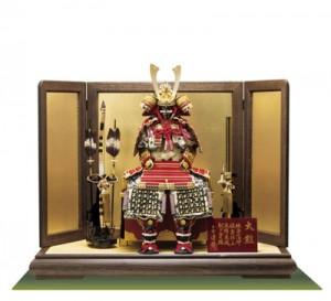 式正総裏白檀仕上げ赤糸威大鎧焼桐平台飾りセット