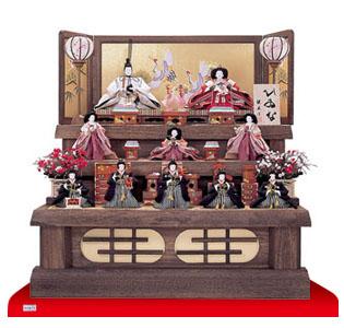 人形のまち岩槻 小木人形 雛人形 焼桐三段飾り 商品番号3030(京八番親王六寸八人揃)