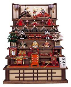 人形のまち岩槻 小木人形 焼桐飾り段七段飾りの雛人形