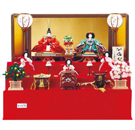 人形のまち岩槻 小木人形 毛氈衣装着三段飾り一番人気サイズのおひなさま