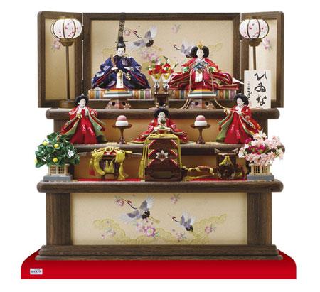 人形のまち岩槻 小木人形  人気三段飾りコンパクトサイズ   雛人形 焼桐三段飾り