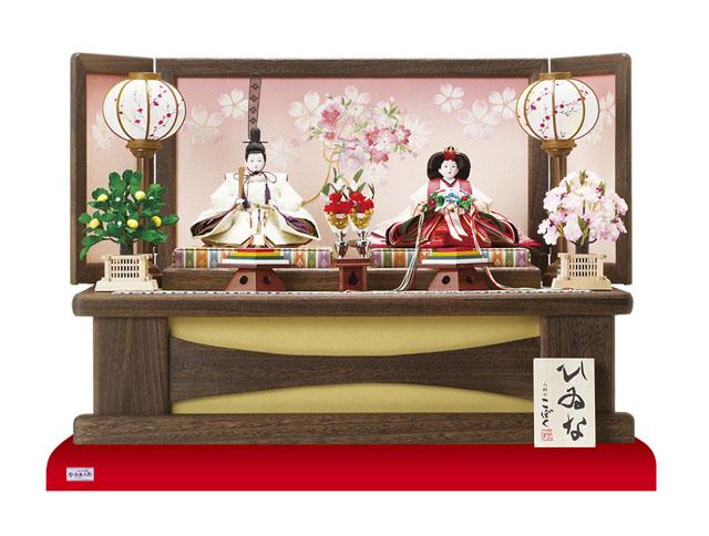 人形のまち岩槻 小木人形 雛人形 コンパクトサイズの焼桐高床台親王飾り
