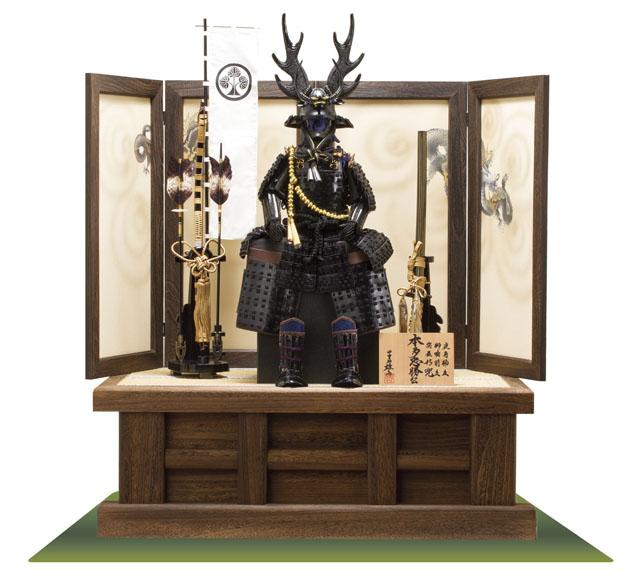 五月人形 本多忠勝公鎧 本多隆将氏蔵 黒糸縅二枚胴具足模写 高床台飾り
