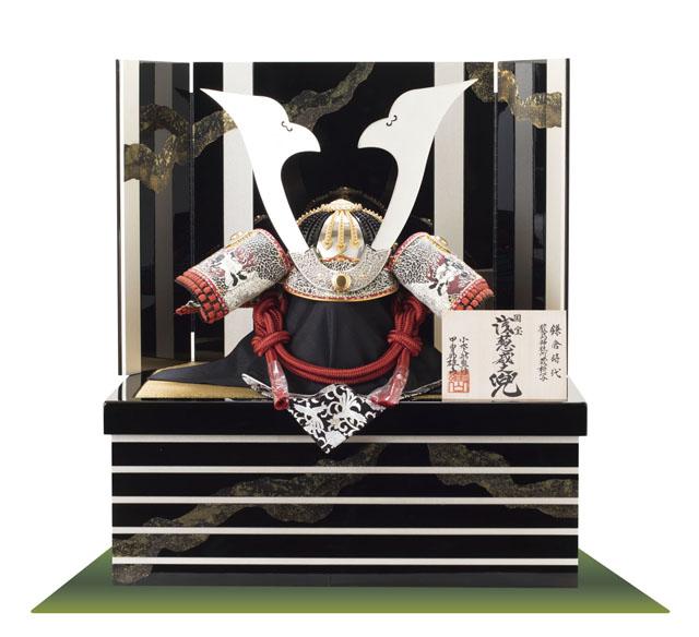 五月人形(広島 厳島神社所蔵(鎌倉時代後期) 国宝模写 浅葱綾威大鎧 収納台三分の二兜飾り