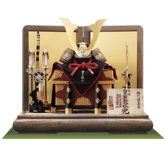 青森 櫛引八幡宮所蔵 国宝模写 褄取白糸威大鎧 兜飾り