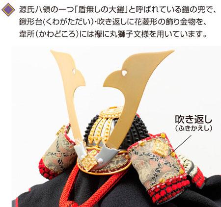 五月人形 山梨 菅田天神社所蔵 (平安時代後期)国宝模写 小桜黄返皮威大鎧 兜飾り