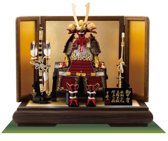 五月人形 黒小札赤糸(茜糸)威鎧ミニ焼桐平台飾りセット
