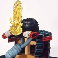 上杉神社蔵 重要文化財 色々威腹巻具足(上杉謙信公・飯綱権現前立て)模写兜 陣幕飾り