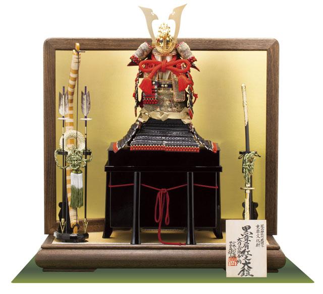 広島 厳島社所蔵 重要文化財 黒韋威肩紅の大鎧模写   三分之一 鎧飾り