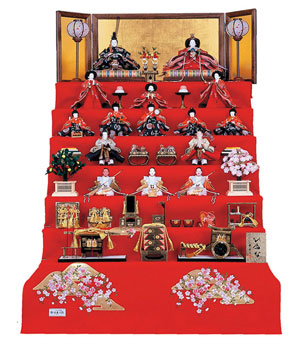 人形のまち岩槻 小木人形 雛人形 毛氈七段飾り コンパクトサイズ