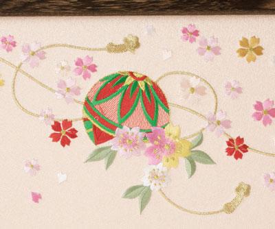 人形のまち岩槻 小木人形 雛人形 毬の刺繍の屏風
