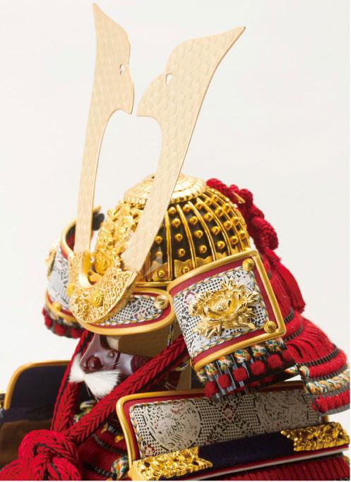 五月人形 黒小札赤糸(茜糸)威鎧焼桐飾り台セット