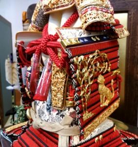 『竹に虎雀』金物赤糸縅大鎧 模写鎧飾り 商品番号 No321-A