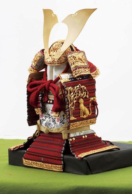 五月人形 鎧兜  奈良 春日大社所蔵 国宝模写 『竹に虎雀』金物赤糸縅大鎧 鎧飾り