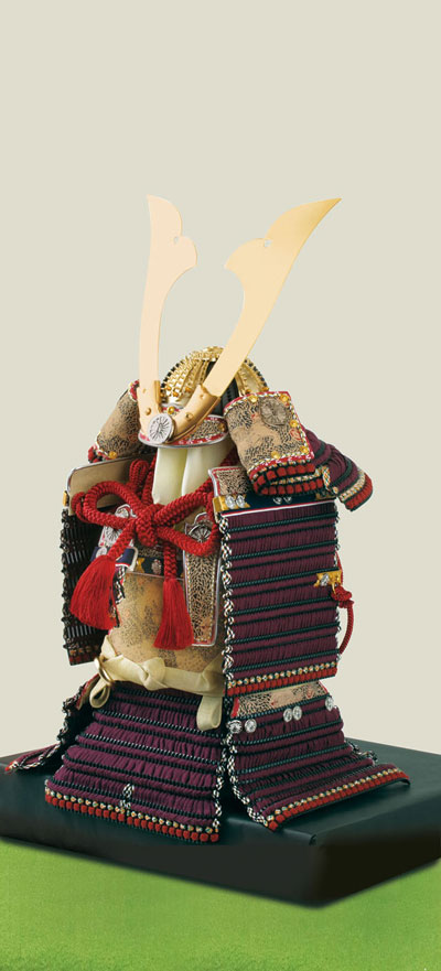 愛媛 大山祇神社所蔵 国宝 紫糸威大鎧模写  四分之一 鎧飾り