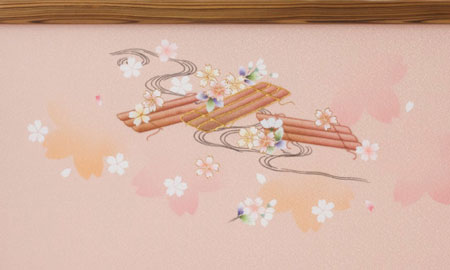 雛人形・京九番親王五寸官女付焼杉三段飾りセット No3021 雛屏風